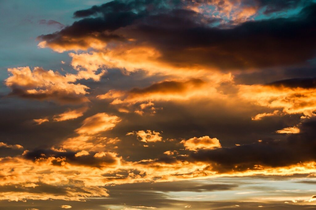 clouds, sky, sunset